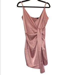 Mind Code Satin Sexy Asymmetrical Dress V Neck